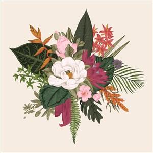古典线描矢量花卉素材