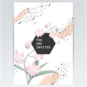 粉色鲜花花纹海报背景