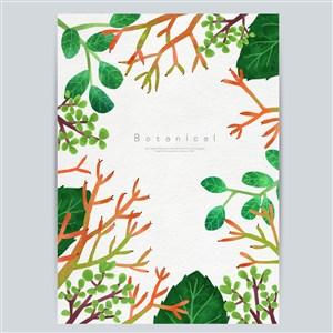 手绘花卉植物底纹边框