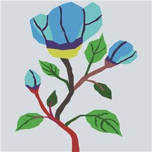 蓝色扁平化花卉素材