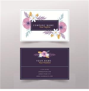 紫色田園花卉名片設計模板