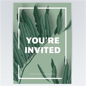 绿色植物海报背景素材