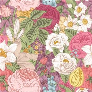 彩色古典线描木刻花卉