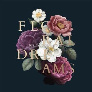 唯美手绘玫瑰花月季花