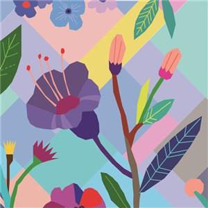 扁平化花卉底纹背景素材