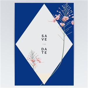 蓝色矢量花卉海报背景素材