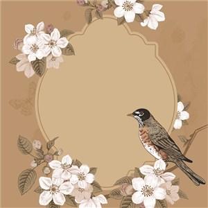 古典线描木刻花鸟素材