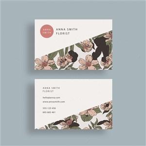 创意简约田园花卉名片模板