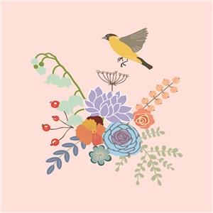 扁平化手绘小清新花鸟素材