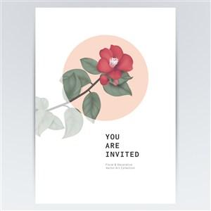 红色茶花鲜花花纹背景素材
