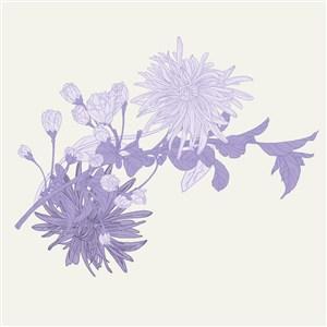 請柬海報紫色花卉背景素材