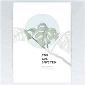淡雅植物海報背景