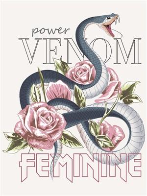 創意鮮花蟒蛇海報