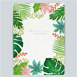 手繪花卉植物邊框底紋素材