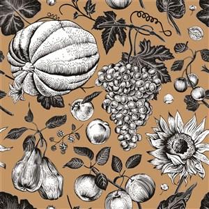 古典线描木刻瓜果素材背景素材