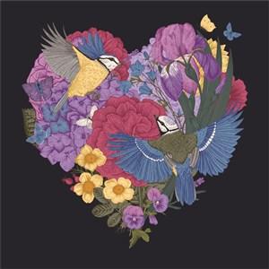 古典线描爱心花卉素材