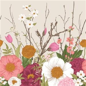 古典線描鮮花素材