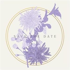 请柬海报紫色菊花背景素材