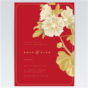 金色矢量花卉海报背景素材