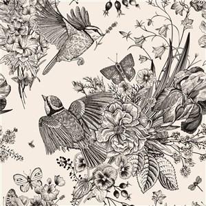 黑白古典線描木刻花鳥素材