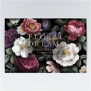 手绘玫瑰花月季花素材