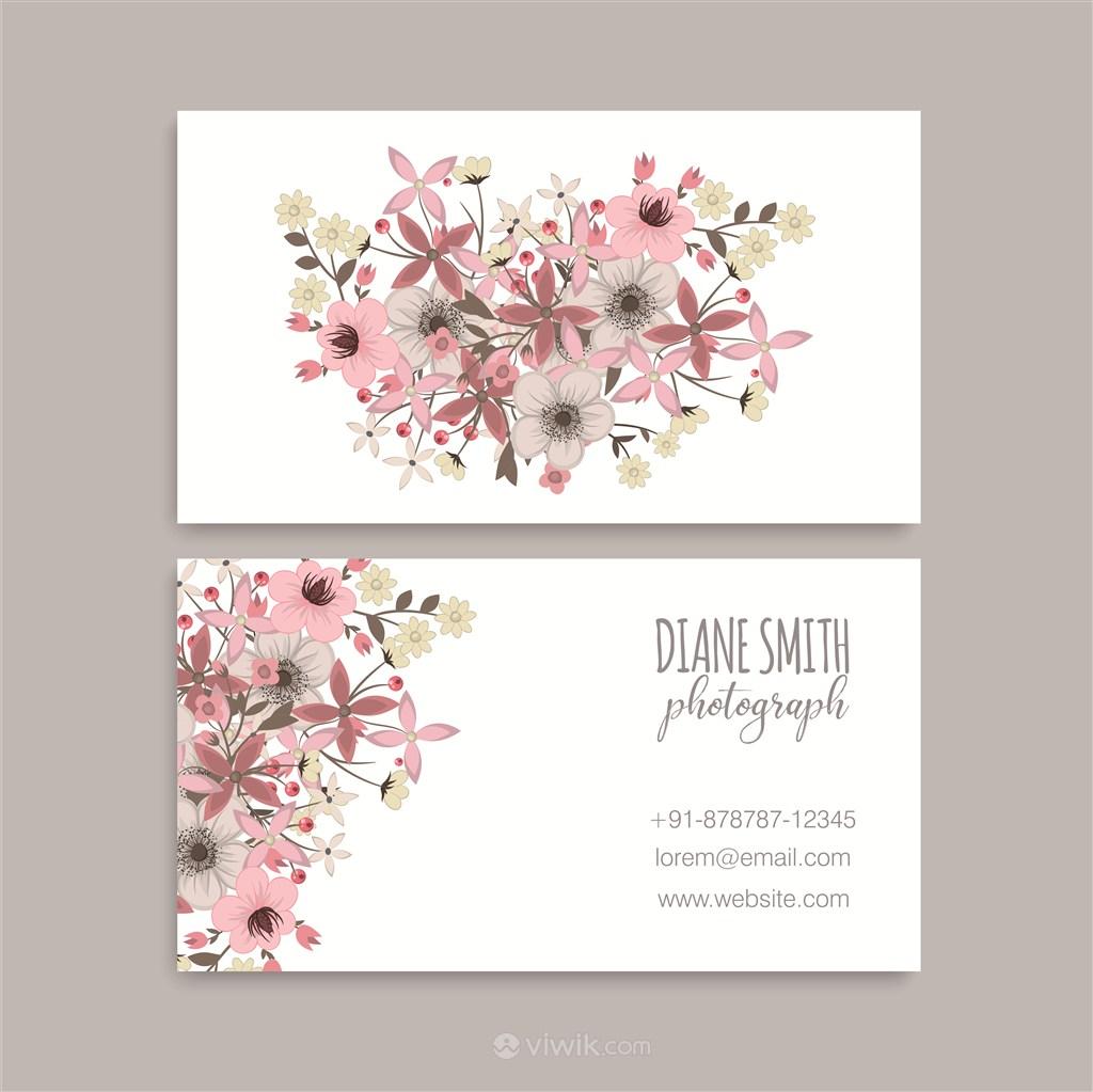 简约田园花卉名片设计模板