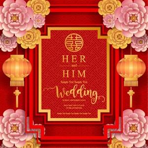 婚慶新年花紋底紋素材