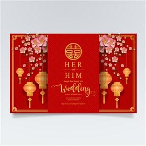 新年婚庆花卉灯笼素材