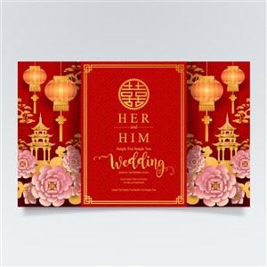 中式传统灯笼花卉新年婚庆素材
