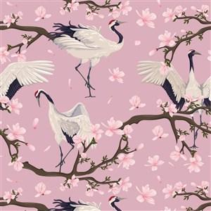 中国风仙鹤花卉插画背景素材