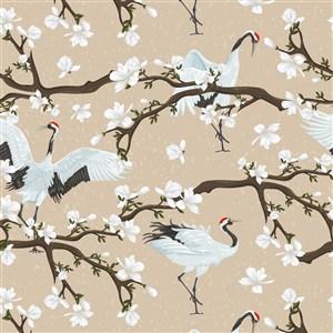 中国风仙鹤花卉插画背景