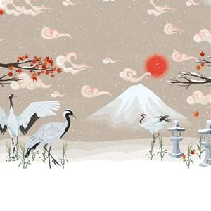 中國風仙鶴雪景插畫背景