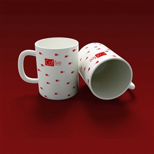 白底红点咖啡杯马克杯贴图样机