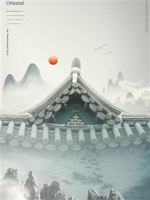 中國風屋檐背景海報