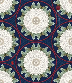 古典中式矢量花紋底紋