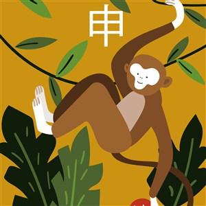 十二生肖插畫申猴