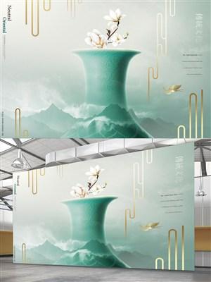 青花瓷背景中國風海報