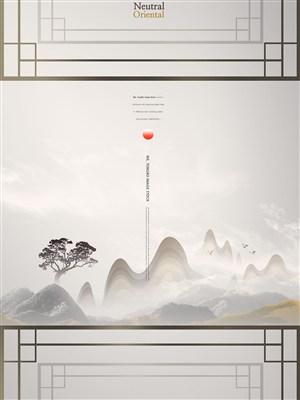 山水建筑意境中國風海報