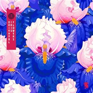 古典中式传统蓝底花卉素材