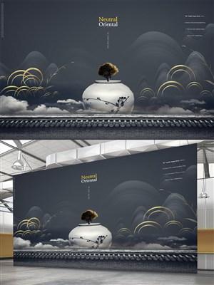 創意中國風黑色背景海報素材
