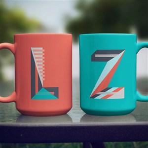 红蓝咖啡杯马克杯组合样机