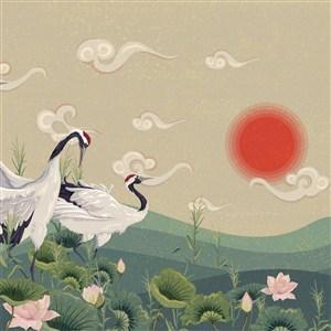 中国风日出仙鹤插画背景