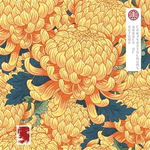 传统中式金色菊花