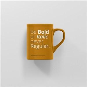 黄色咖啡杯马克杯正面贴图样机