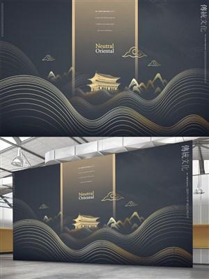 中国风黑金海报素材