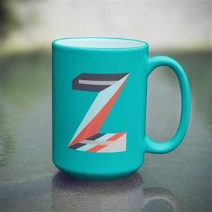 藍色咖啡杯馬克杯貼圖樣機