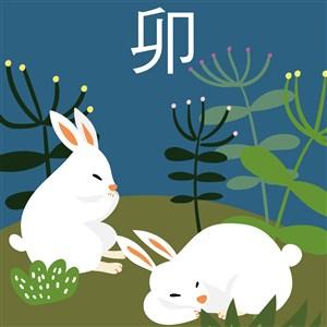 十二生肖插画之卯兔