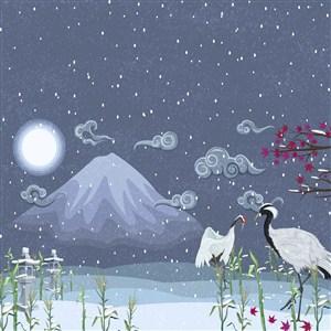 中国风雪夜仙鹤插画背景素材