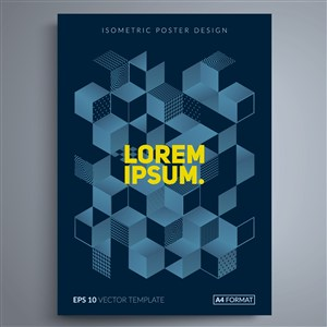 藍色立體幾何海報背景素材