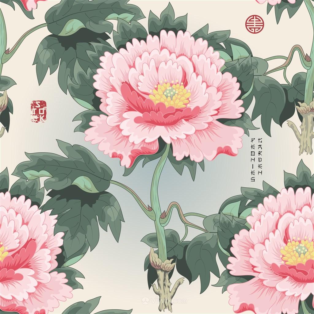 中式传统牡丹背景底纹素材
